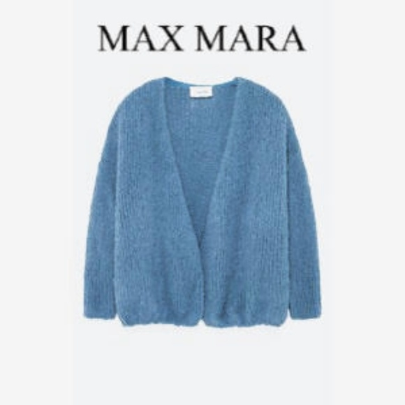 MaxMara Sweaters - MaxMara   Vintage Wool Blue Open Cardigan